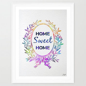Home Sweet Home Watercolor illustration Art Print,Nursery/Kids Art Print,Home decor,Family quote,Wedding,Birthday Gift, #273