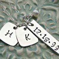Hand Stamped Handstamped Initial Necklace with Date Tag Custom Personalized Charm Necklace