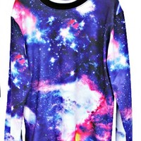 NEBULA CREWNECK SWEATER-PURPLE