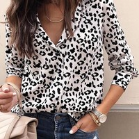 White Black Leopard Print Single Breasted Long Sleeve Blouse