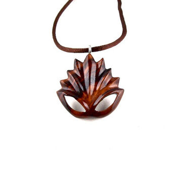 Lotus Necklace, Lotus Flower Pendant, Lotus Pendant, Lotus Flower Necklace, Wood Lotus Necklace, Namaste Pendant Lotus Jewelry, Yoga Jewelry