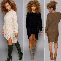 Women Ripped Knitted Sweaters