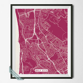 Daly City Print, California Poster, Daly City Poster, Daly City Map, California Print, Street Map, California Map, Wall Art
