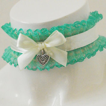 Ddlg cgl collar - Sissy frillie - kitten pet play little princess cute kawaii lace frilled lolita adult choker - ivory and green