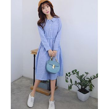 Spring Autumn Women Casual Maxi Long Dress Turn Down Collar Striped Cotton Linen Vintage Vestidos Full Sleeve Blue Femme Dresses