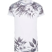 River Island MensWhite and black summer floral print t-shirt