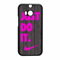 Nike Just Do It Wood Colored Darkwood Wooden Pink HTC One M8 Case