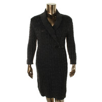 Calvin Klein Womens Cable Knit Shawl Collar Sweaterdress