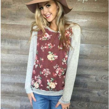 Floral Print Causal Sweater B0014229