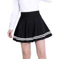 2017 Women Summer A-line Skirts Winter Fashion Female Black Striped Casual Harajuku Slim Mini Skirt SKD955