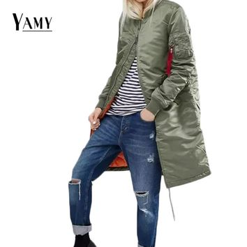 Winter long jackets and coats 2017 spring female coat casual military black olive green bomber jacket women basic jackets