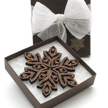 Wooden Christmas Ornaments - Snowflake Designs Black Walnut Wood