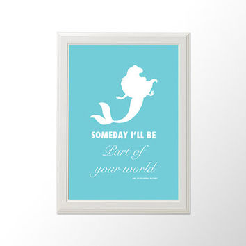 Printable Wall Art The Little Mermaid Part Of Your World Ariel Walt Disney Silhouette Typography Poster
