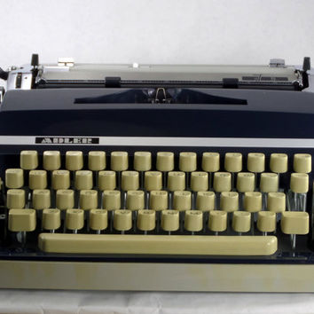 RECONDITIONED Adler J5 Manual Typewriter - Working Typewriter - Blue and Cream Vintage Typwriter - Excellent Condition