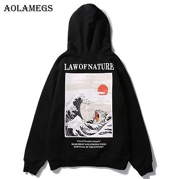 Aolamegs Hoodies Men Japanese Funny Cat Wave Hooded High Street Pullover Sweatshirt Men Fleece Fashion Hip Hop Streetwear Hoodie