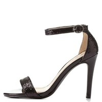 Ankle Strap Glitter Heels by Qupid at Charlotte Russe