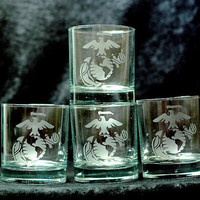 USMC Marine Corps Eagle Globe & Anchor Set of 4 Double Old Fashioned Glasses
