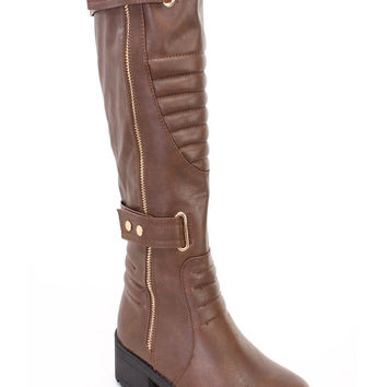 Brown Stitched Strappy Riding Boots Faux Leather