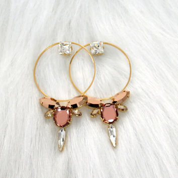 Bridal Hoop Earrings, Blush Pink Statement Earrings, Big Hoop Bridal Earrings, Bridal Large Gold Hoop Earrings, Swarovski Blush Big Earrings