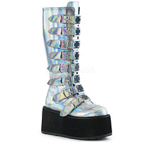 Silver Holographic Buckled Knee High Platform Boots