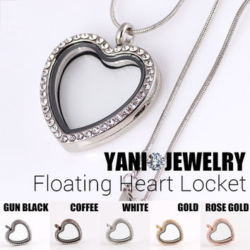 10pcs/lot Free Shipping Mix Colors Heart Memory Magnet Magent Glass Living Floating Locket Pendant With Chains