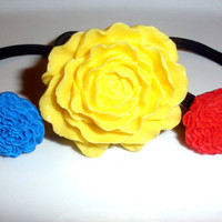Primary Power RED BLUE YELLOW  flower hair band hair accessories set of 3 ponytail holders elastics lot