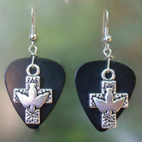 Cross Dove Earrings, Silver Dangle Guitar Pick Jewelry, Custom Color & Style, Pierced or Clip On, Faith Crucifix, Religious Easter