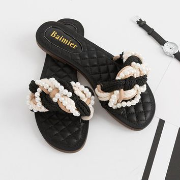 Fashion Casual Multicolor Pearl Weave Hemp Rope Slippers Flats Shoes