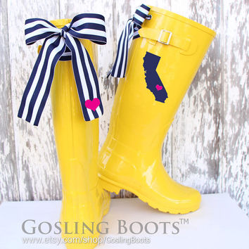 Custom California Love Yellow Gloss Rain Boots with Blue/White Stripe Bows