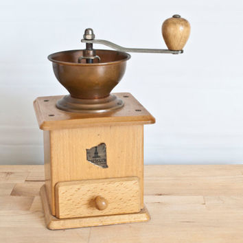 Trosser West Germany Traditional Coffee Grinder, Crank Style, Solid Copper and Wood, Hand Ground Cofee