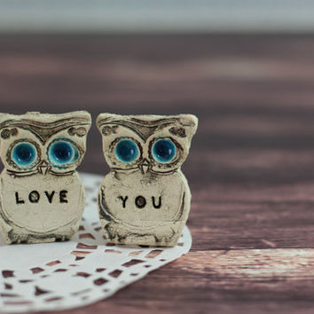 Owls Wedding cake topper - a pair of love you owls Cute cake topper Valentine's day gift