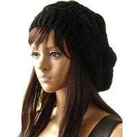 Senchanting Women Lady Winter Warm Knitted Crochet Slouch Baggy Beret Beanie Hat Cap Black