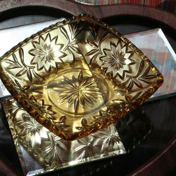Vintage Amber Glass Jewelry Tray, Decorative Dish, Star and Flower Glassware Golden Yellow