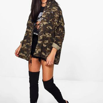 Mia Over Sized Camo Washed Denim Shirt | Boohoo