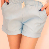 Light Blue Elastic Band Drawstring Casual Shorts