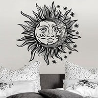 Wall Decal Sun Moon Sunshine Stars Crescent Dual Ethnic Night Symbol Vinyl Sticker Decals Nursery Home Decor Bedroom Art Design Interior NS817