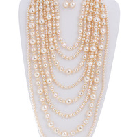 Audrey Multi-Strand Simulated Pearl Statement Necklace and Earrings Set
