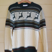 Vintage Mens Jantzen pull over Christmas Sweater Unisex Large 1980s Sweater with Reindeer