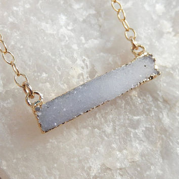 White Druzy Bar Gold Necklace Rectangle Horizontal Quartz Snow Drusy - Free Shipping OOAK Jewelry