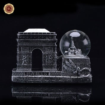 WR Vintage Silver Plated Paris Triumphal Arch Models Creative Snow Globe Dome France Landmark Tourism Souvenir Gifts Ornament