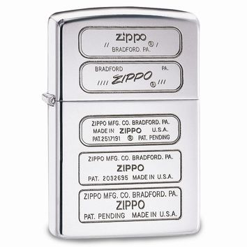 Zippo Stamps High Polish Chrome Luster Lighter