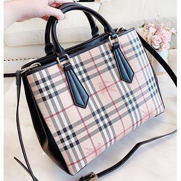 Burberry Fashion New Plaid Shopping Leisure Shoulder Bag Women Handbag