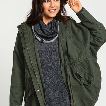 Hooded Cargo Drawstring Anorak Jacket