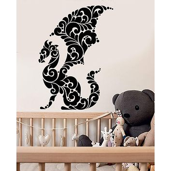 Vinyl Wall Decal Abstract Art Dragon Ornament Fairy Tale Stickers (2733ig)