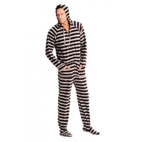 Black and Grey Adult Footed Pajamas