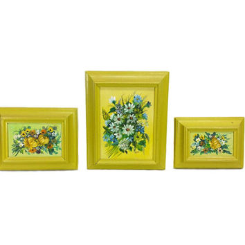 Floral Painting Set of 3 Vintage Framed Still Life Art Colorful Retro Wall Decor Painted Flower Bouquet Canvas Shabby Garden Cottage Chic