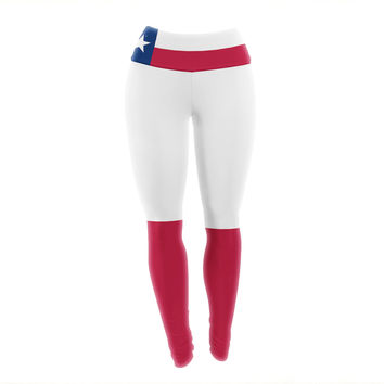 "Bruce Stanfield ""Flag of Texas"" Blue Red Yoga Leggings"