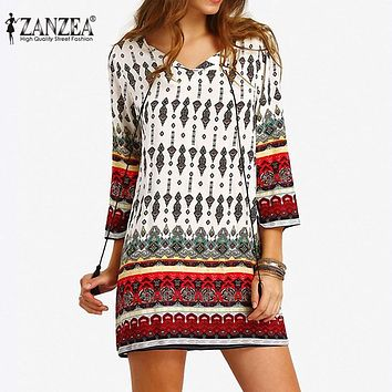 ZANZEA Bohemia Womens Summer Lace-up Floral Kaftan Party Mini Dress Beach Sundress Plus Size 2017