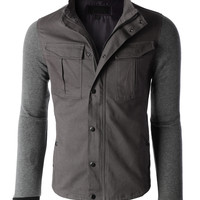 LE3NO Mens Heavyweight Stand Collar Zip Up Military Jacket