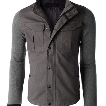 Mens Heavyweight Stand Collar Zip Up Military Jacket (CLEARANCE)